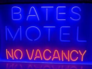 """Bates Motel No Vacancy Neon LED Light Sign 12""""x8"""" Halloween Party Collectible"""