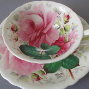 Vintage HAMMERSLEY HP Bone China Cup & Saucer SEVERN ROSE Huge PINK Roses Signed