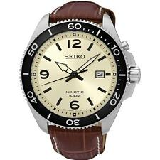 SEIKO MEN'S 44MM BROWN LEATHER BAND STEEL CASE KINETIC BEIGE DIAL WATCH SKA749