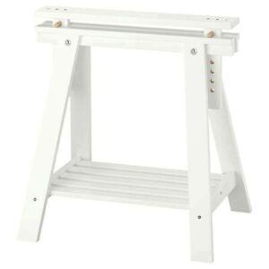 IKEA FINNVARD Trestle Adjustable Height w/Shelf Solid Wood White 27 1/2x2 8/36''