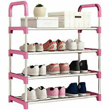 4 Tier Metal Shoe Rack Storage 12 Pairs Organiser Stand Shelf Portable Cabinet