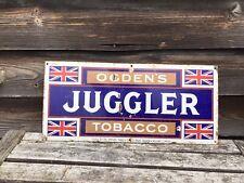"""More details for original vintage metal sign juggler tobacco 22"""" x 10"""""""