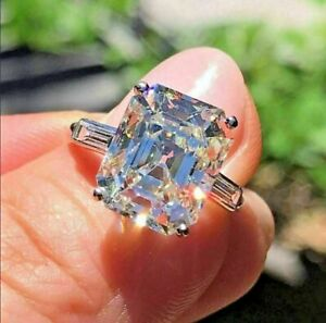 4Ct Radiant Cut Simulated Moissanite Engagement Ring Solid 14K White Gold Finish
