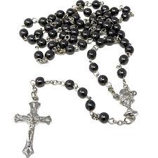 Christian genuine round black hematite rosary beads silver metal 6mm Catholic