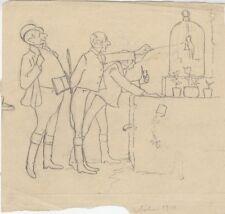 """""""3 HOMMES DEVANT UN OISEAU EN CAGE"""" Dessin au crayon noir sur papier calque 1910"""
