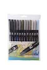 Tombow Brush Pen 12 Colour GREYS SET. Double Ended Artist & Craft Marker Pens