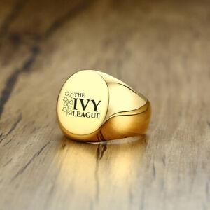 Gold Men Signet Ring University IVY College Graduation Personalized Engraving