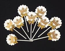 Crown Cupcake toppers/ princess cucpake toppers/ white and gold toppers