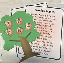Five Red Apples - Flannel /Felt Board Story Pieces and song sheet - Apples