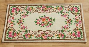 Rug Runner Bridge Doormat Beige Flower Tendril Flowers Cream Non-Slip Mat
