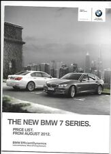 BMW 7 SERIES PRICE LIST CAR  BROCHURE AUGUST 2012