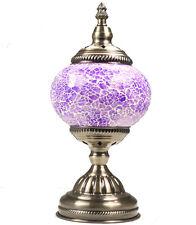 Vintage Blue Mosaic Desk Lamp, Handmade Turkish Light, Moroccan Table, Bedside