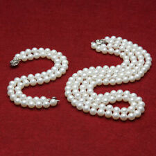 """2 row AAA 8-9mm freshwater cultured white round genuine pearl necklace 17""""-7.5"""""""