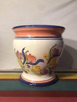 Cache Pot Plantes Céramique Émaillé Dessin Fleurs Décoration Marquage Vintage