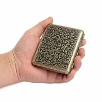 Vintage Case For 20pcs Cigarette Antique Carving Stainless Steel Men Gift Box