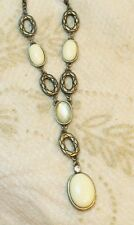 Cream White Cabochon Simulated Crystal Gold Tone Lavaliere Necklace