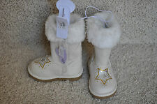NWT!! GIRLS THE CHILDRENS PLACE Beige w/Faux Fur Light Up Snow Boots Size 4