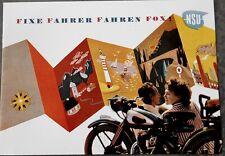 NSU FOX 98 CCM PROSPEKT 1949 FIXE FAHRER FAHREN FOX MOPED NECKARSULM OLDTIMER