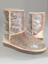 NWT UGG AUSTRALIA WOMENS CLASSIC SHORT BOOTS SPARKLES SEQUIN CHAMPAGNE 7