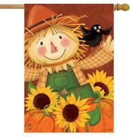 "Happy Scarecrow Fall House Flag Sunflowers Pumpkins 28"" x 40"" Briarwood Lane"