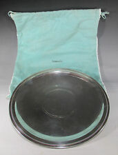 """11"""" Tiffany & Co Sterling Silver Round Footed Charger w/Beaded Edge Border 576g"""