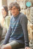 KNITTING PATTERN Mens Round Neck Jumper Sweater Rowan Long Sleeves PATTERN