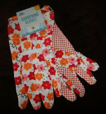 NWT Kids Garden gloves one size fits most red orange flowers palm finger dots