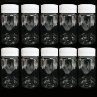 10 Empty Plastic Pill Bottles Medicine Container Vitamin Capsule Drug Holder Cl