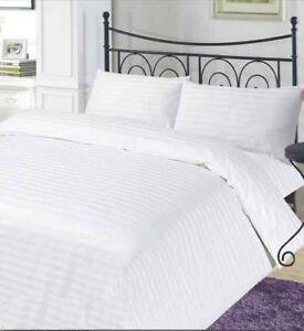 T300 100 % Cotton White Stripe Satin Hotel Quality Duvet Cover Bedding Set