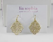 "Lia Sophia ""Diary"" Gold Tone Filagree Earrings~NWT"