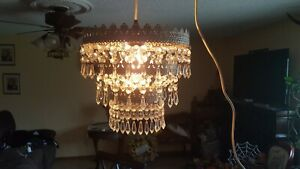 Ornate Metal & Chandelier Style Hanging Swag Lamp