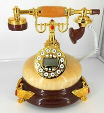 Retro style push button dial desk telephone (onyx) / Home decorative