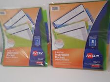 2 Avery 11902 5 Big Tab Insertable Plastic Pocket Dividers School Supplies