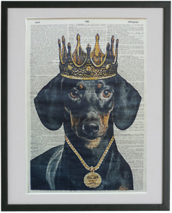 Black and Tan Dachshund Dog Print No.609, sausage dog, dog groomer gifts
