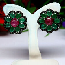 NATURAL RED RUBY GREEN EMERALD & BLACK SPINEL EARRINGS 925 STERLING SILVER
