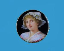 Hochfeine Brosche emailgemaltes Damen-Porträt 18K Gold u.Diamant Frankreich~1890