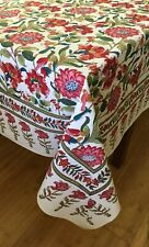 """Anokhi 70"""" x 108"""" Red Bird & Butterfly Floral Cotton Tablecloth"""