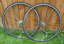 LOVELY CLASSIC SET OF MAVIC MA40'S WITH SHIMANO 600 TRICOLOUR HUBS,D/B SPOKES.