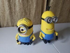 "Lot of 2 Minion Thinkway Toys Universal Studios Moving Eyes, Arms, Bob Figure 5"""