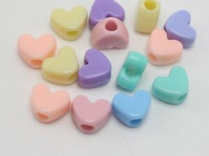 100 Mixed Pastel Color Acrylic Smooth Heart Pony Beads 12X9mm for Kids Craft