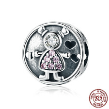 925 Sterling Cute Child Baby Sweet Family Charm Beads fit Original Silver Bangle