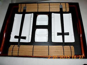 Asiatisches Sushi-Set Geschirr-Set 10-teilig mit Holztablett, in OVP
