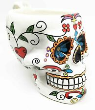 Colorful Day Of The Dead Sugar Skull Drinking Coffee Mug