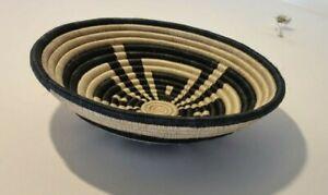Flat Basket Handwoven Plate from Rwanda Decorative wall basket 30 inch circumfer