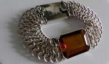 Dazzling, pristine! 41g sterling silver 925 fully HM deep orange quartz bracelet