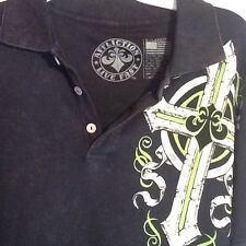 Men's Affliction Live Fast Black  Polo Shirt (X-Large)