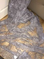 1 MTR GREY SCALLOPED EMBROIDED SEQUENCE CRYSTAL BRIDAL LACE NET FABRIC £9.99