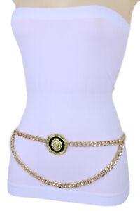 Women Gold Metal Chain Skinny Waistband Big Lion Safari Charm Coin Belt M L XL