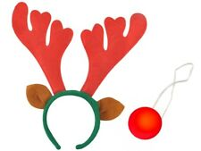 Rentier Haarreif Elch- Rentiergeweih Kostüm Weihnachten + blinkende Nase #3066