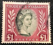 Rhodesia and Nyasaland Stamp #155 Used 1£ / Pound 1954-56